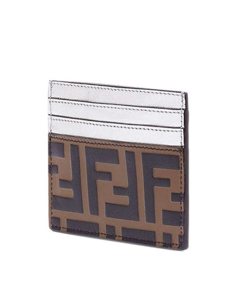 FF Logo Embossed Brown & Silver Leather Card Holder back