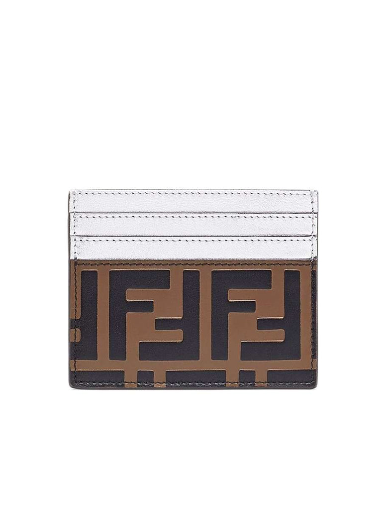 FF Logo Embossed Brown & Silver Leather Card Holder