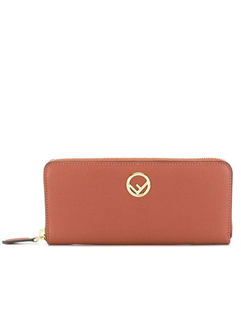 F Gold Logo Zip-Around Wallet
