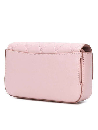 Mini Pocket Bag in Pink Diamond Quilted Leather back