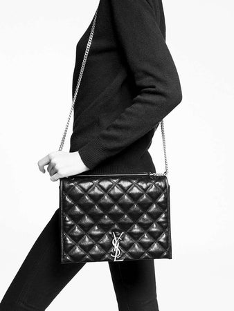 Becky Small Chain Bag in Black Quilted Lambskin wearing
