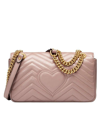 GG Marmont Mini Matelasse Dusty Pink Leather Shoulder Bag back