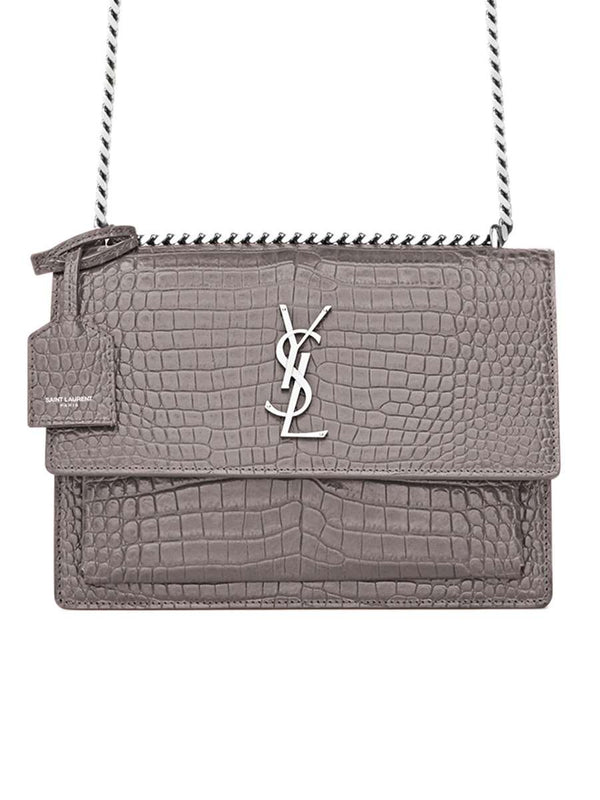 Sunset Medium Silver Monogram Fog Croc-Embossed Bag
