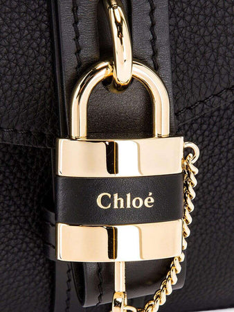 Medium Aby Day Bag in Black Grained Leather lock