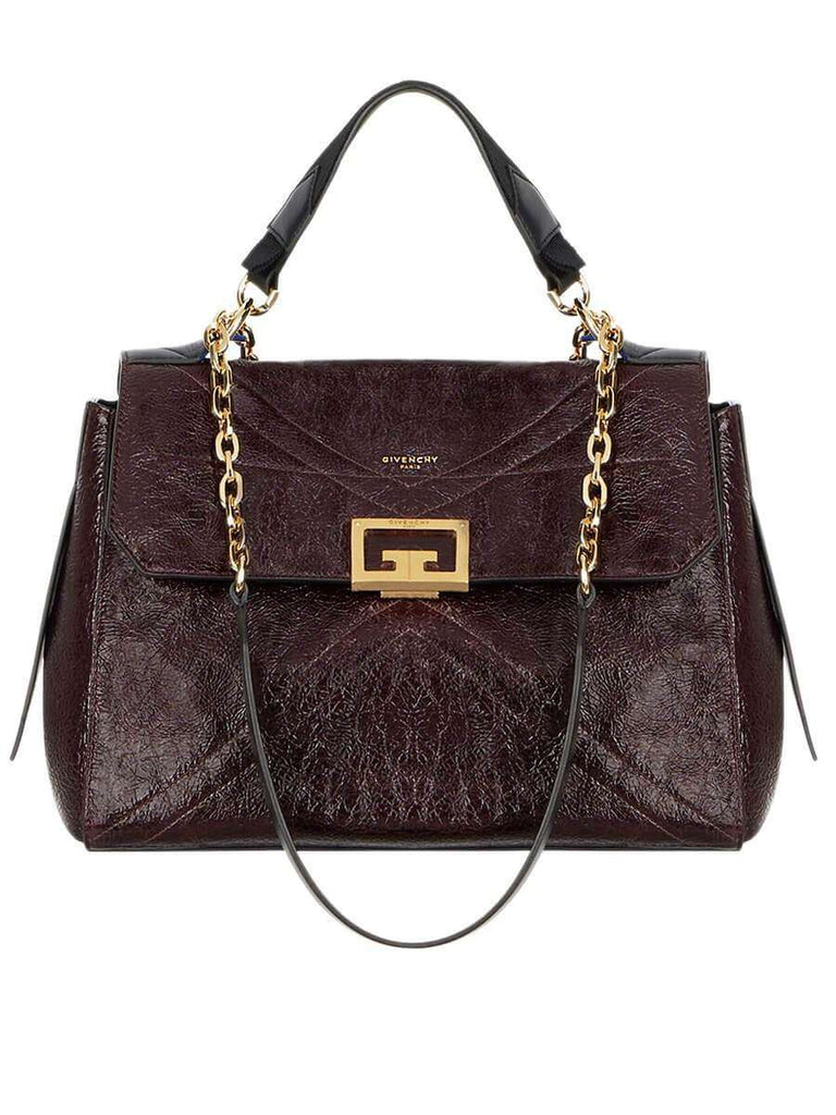 ID Medium Bag in Aubergine Crackling Leather