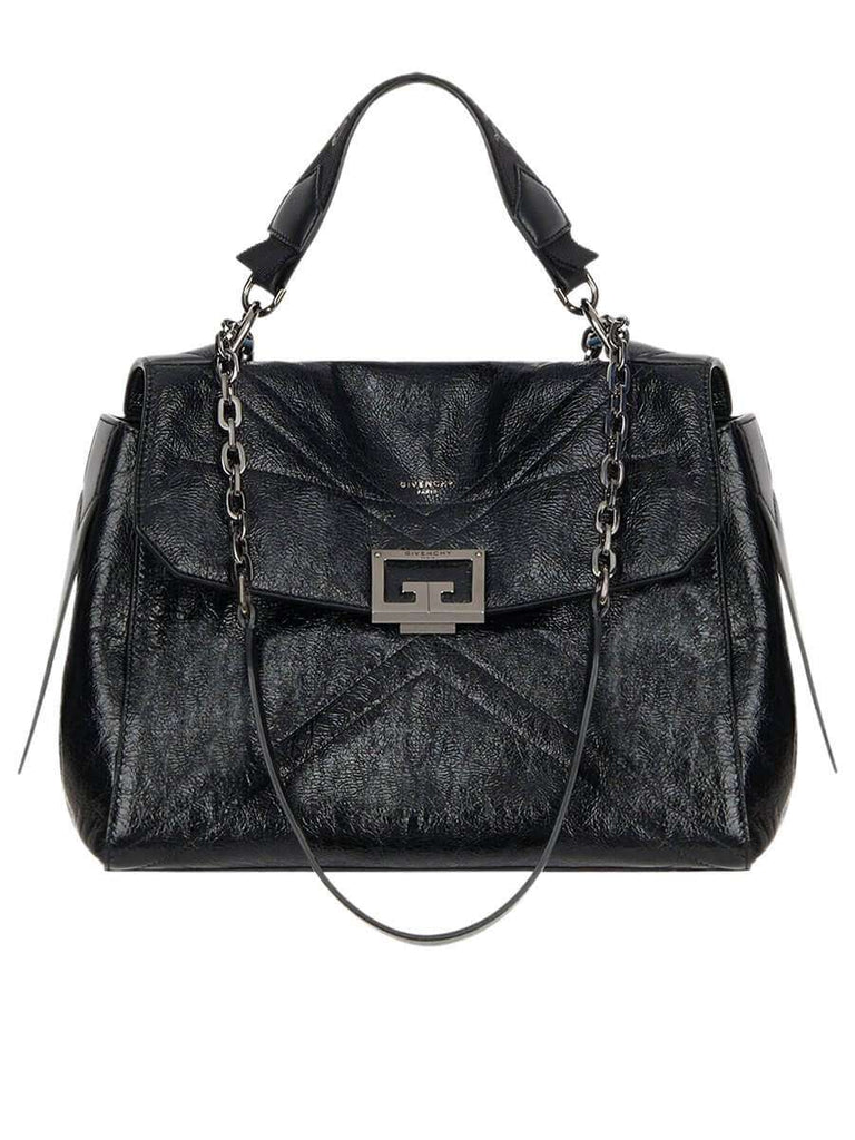 ID Medium Bag in Black Crackling Leather black