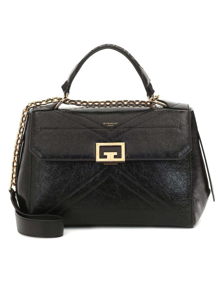 ID Medium Bag in Black Crackling Leather