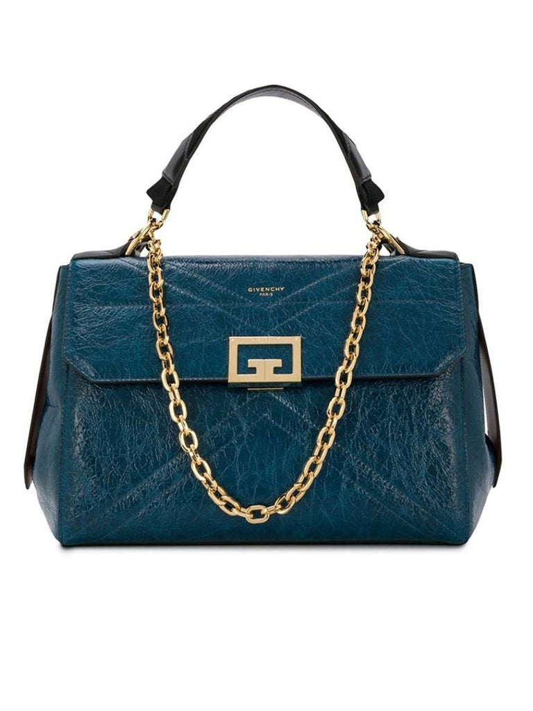 ID Medium Bag in Oil Blue Crackling Leather
