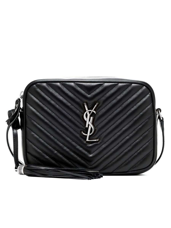 Lou Camera Bag in Quilted Leather Silver Hardware black