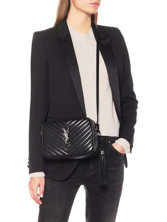 Lou Camera Bag in Quilted Leather Silver Hardware black wearing