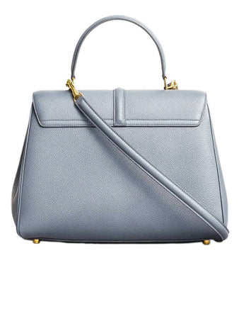 Medium 16 Bag in Grey Grained Calfskin back