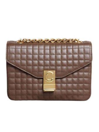 Medium C Bag in Brown Quilted Calfskin