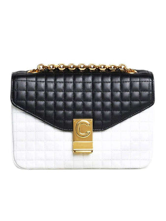 Medium C Bag in White & Black Quilted Calfskin