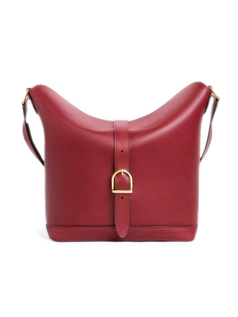 Medium Bucket 6 in Burgundy Smooth Calfskin