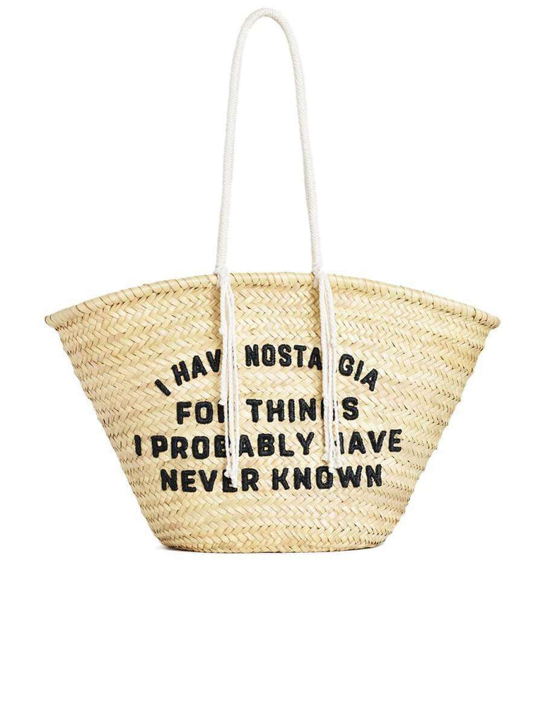 "Celine Large Basket in Raffia with David Kramer ""Retro Nostalgia ""Sequins Embroidery"