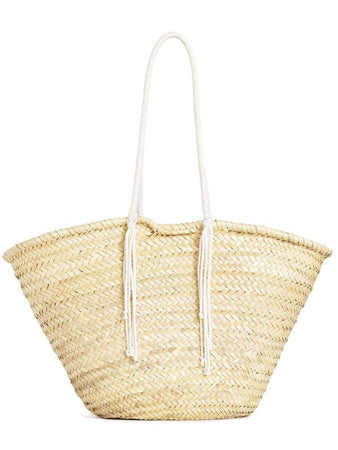 "Celine Large Basket in Raffia with David Kramer ""Retro Nostalgia ""Sequins Embroidery back"