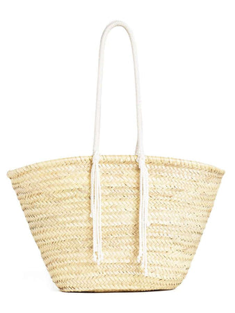 "Celine Large Basket in Raffia with David Kramer ""From the Beginning"" Sequins Embroidery back"