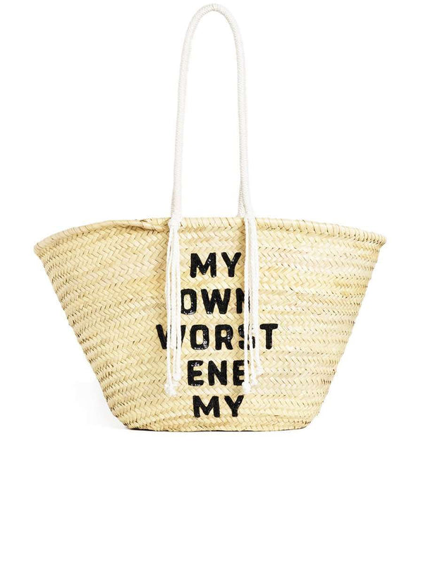 "Celine Large Basket in Raffia with David Kramer ""From the Beginning"" Sequins Embroidery"