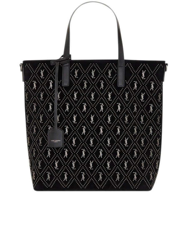 Monogram All Over N/S Toy Shopping Bag in Studded Suede