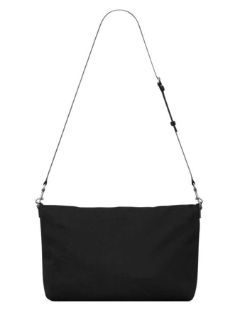 Ethan Foldable Shopping Bag in Canvas and Smooth Leather handle