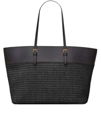 Boucle Medium E/W Shopping Bag in Raffia and Smooth Leather black back