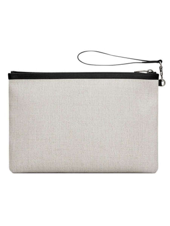 Rive Gauche Zippered Pouch in Linen Canvas back