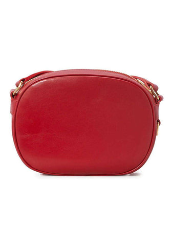 Small C Charm Red Quilted Shoulder Bag back