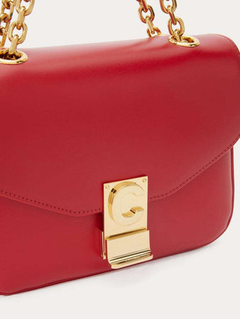 Small C Bag in Red Satinated Leather logo