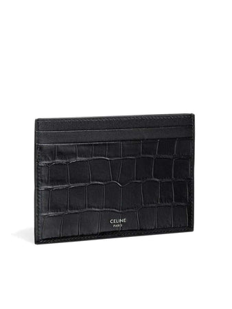 Card Holder in Black Crocodile Stamped Calfskin front