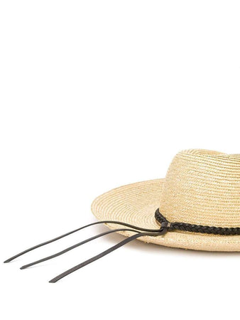 Wide Brim Straw Fedora Hat white design