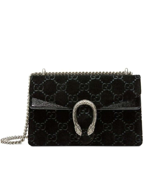 Dionysus GG Velvet Small Shoulder Bag in Black