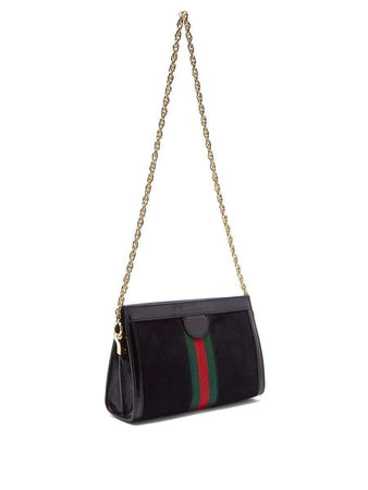 Ophidia Small Black Shoulder Bag in Suede front