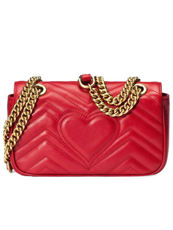 GG Marmont Mini Matelasse Red Leather Shoulder Bag