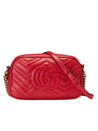 GG Marmont Small Matelassé Zipped Red Leather Shoulder Bag