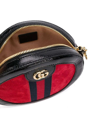 Ophidia Mini Round Leather and Suede Shoulder Bag in Red