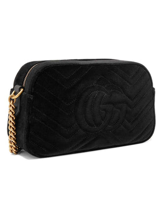 GG Marmont Small Velvet Shoulder Bag in Black