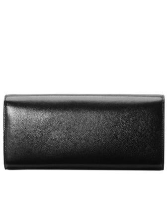 Broadway Leather Clutch with Double G in Black