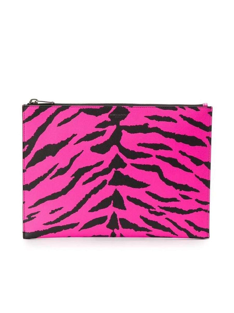 Zipped Pouch in Zebra Fuchsia