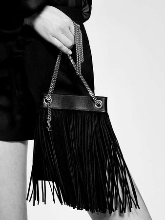 Grace Small Fringed Hobo Bag in Lambskin and Suede