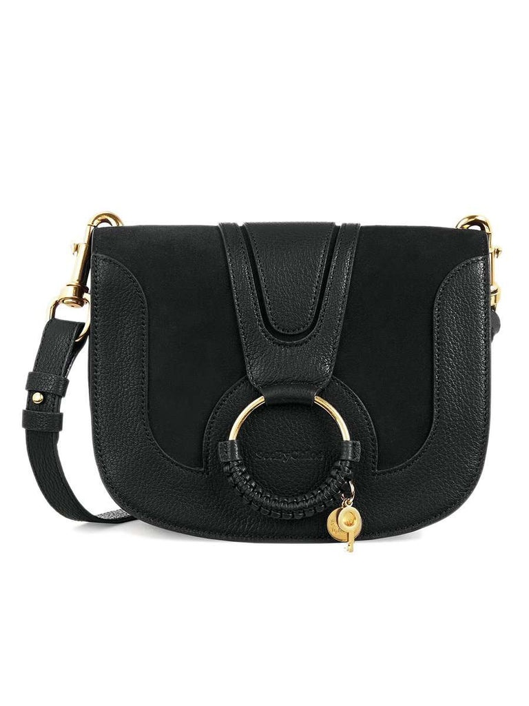 Hana Leather & Suede Shoulder Bag in Black