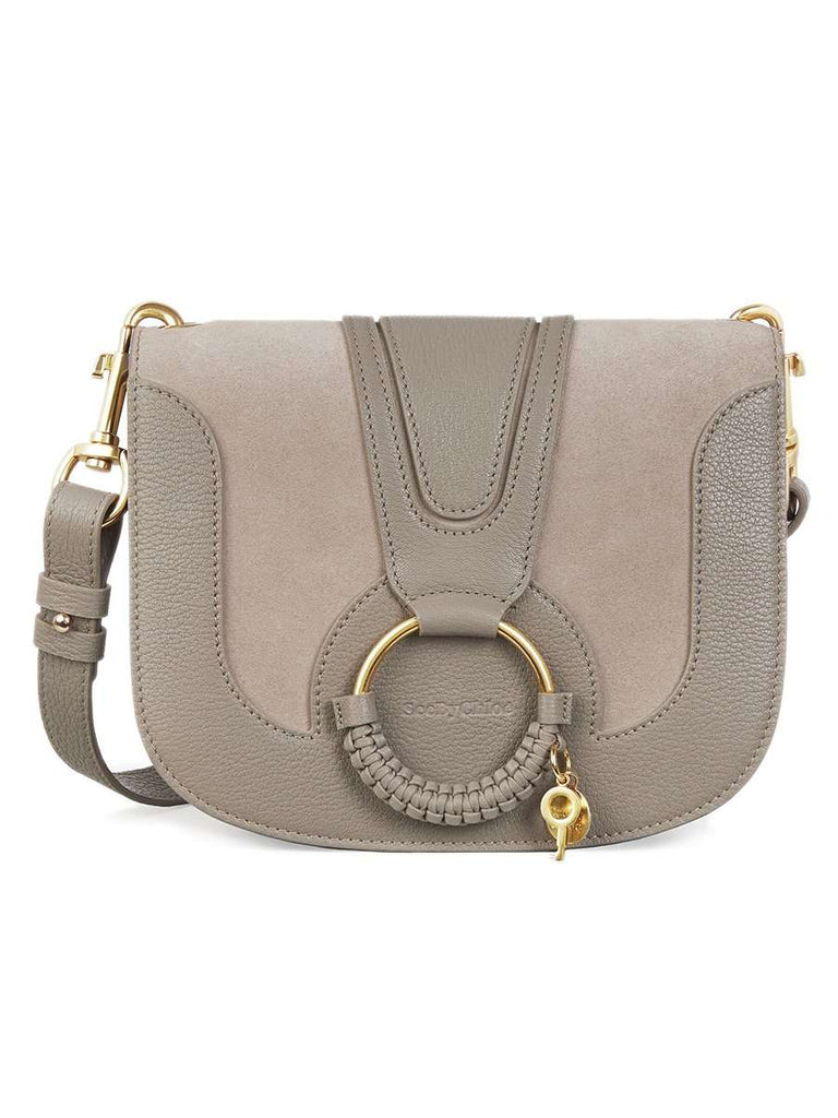 Hana Leather & Suede Shoulder Bag in Motty Grey