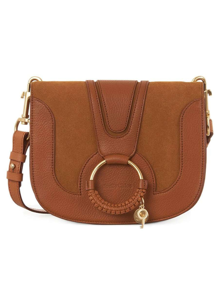 Hana Leather & Suede Shoulder Bag in Soft Tan