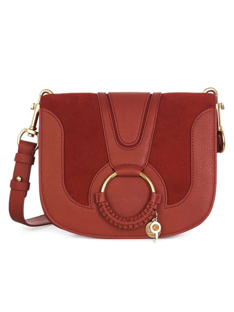 Hana Leather & Suede Shoulder Bag in Faded Red