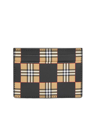Chequer Print Leather Card Case