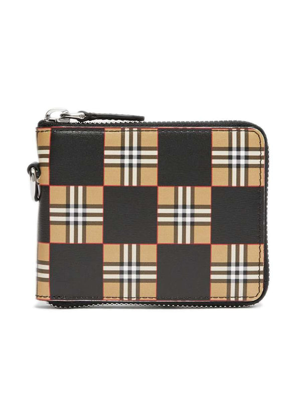 Chequer Print Leather Zip Around Wallet