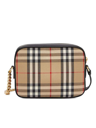 Vintage Check and Leopard Print Calf Hair Camera Bag
