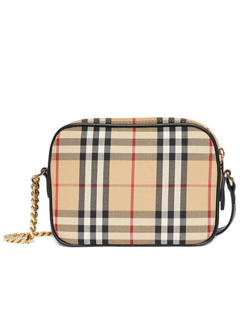 Vintage Check and Leather Camera Bag