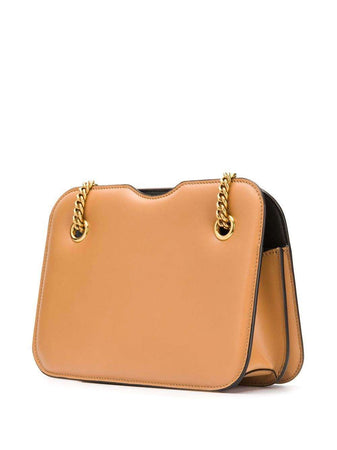 Karligraphy Pocket Shoulder Bag in Biscuit/Tobacco