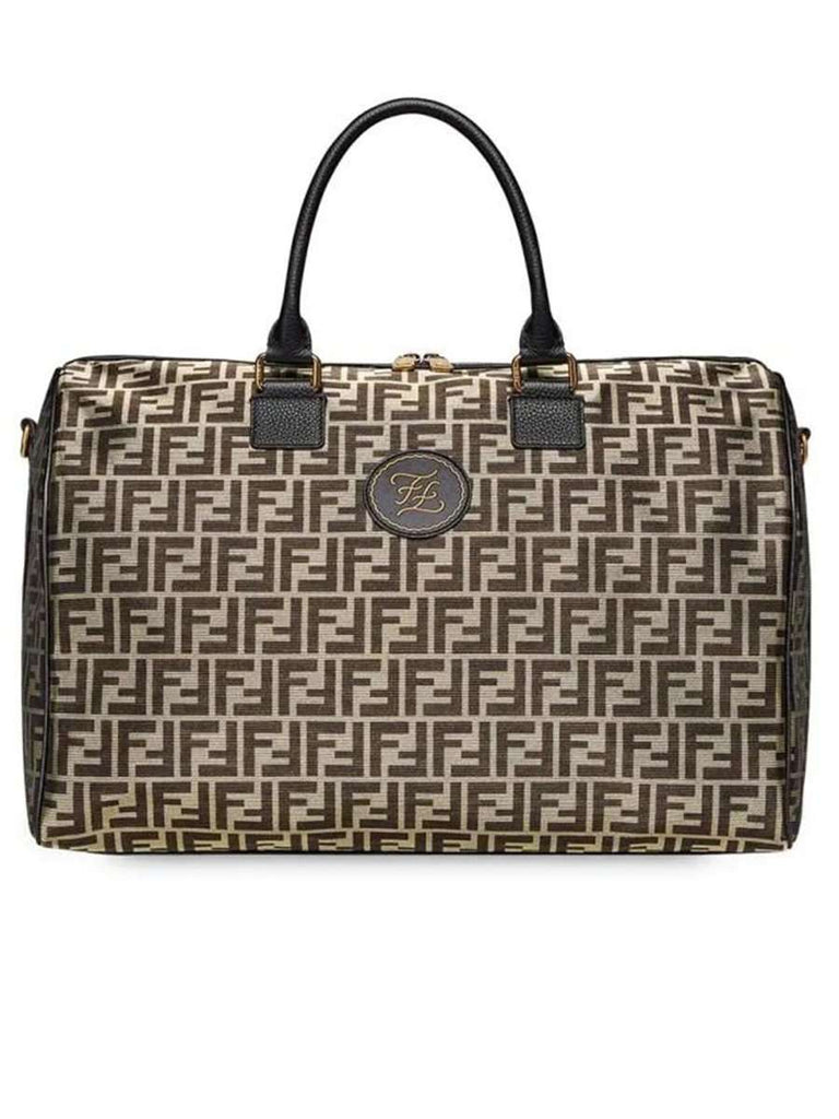 FF Motif Travel Bag in Black and Gold Tone