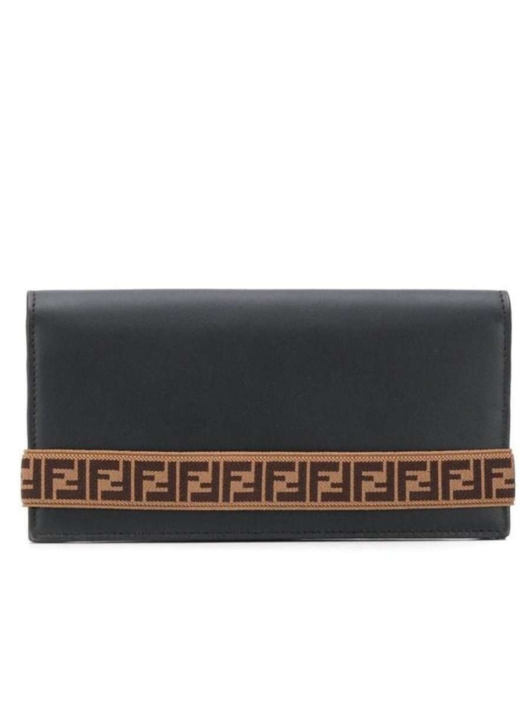 FF Motif Stripe Detail Wallet in Black Brown and Yellow